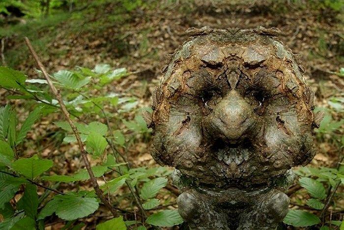 """Сказочные лесные существа в арт-проекте Elido Turco. Итальянский фотограф Элидо Турко (Elido Turco) обнаружил самые настоящие лица. Богатая фантазия автора, десятки фотографий с лесной прогулки и техника зеркального отражения, - и вот уже """"Лесные духи"""" следят за нами из-за каждого дерева в лесах, парках и скверах."""