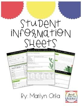 Student Information Sheets for back to school.Enjoy this FREEBIEFollow me on IG @TeachUnderTheRainbow