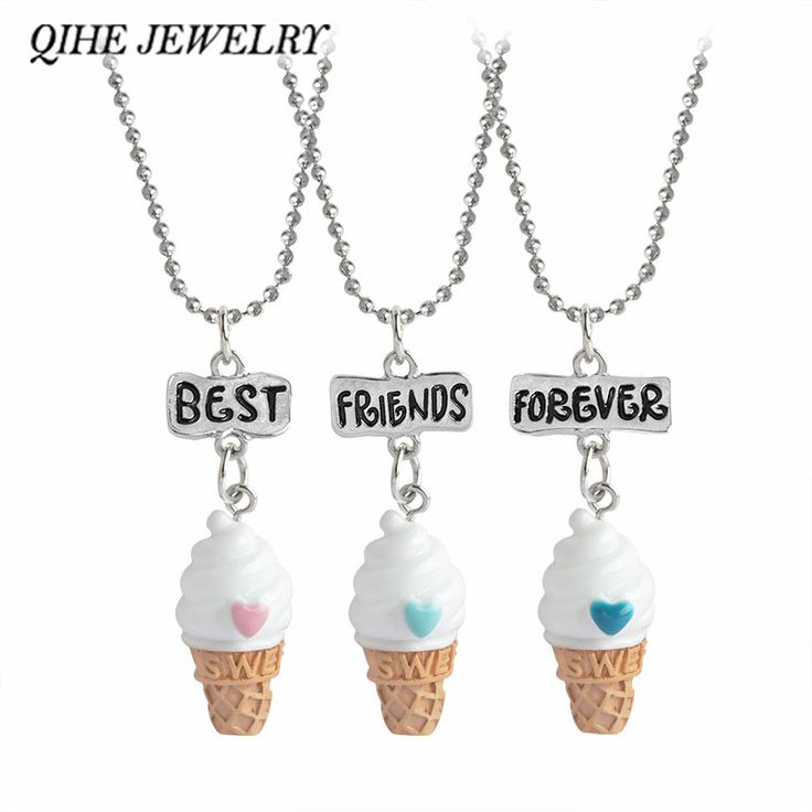 3pc/set Hand Stamped Best Friends Forever Ice-cream Pendant Necklace