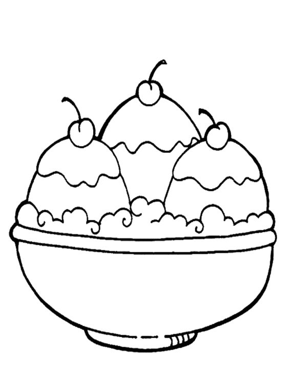 Cherries Ice Cream Coloring Pages