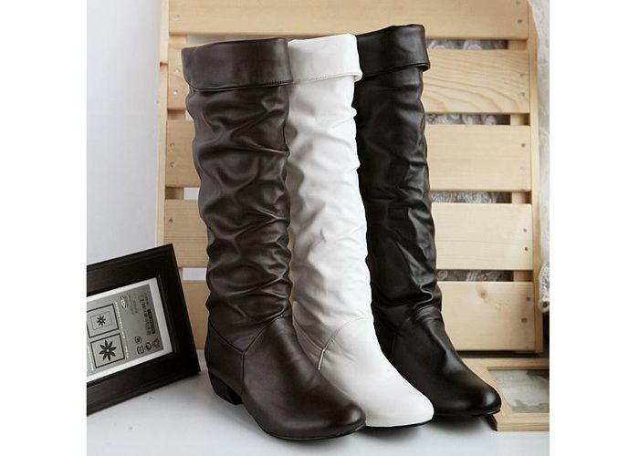 Wholesale British Style Women's Knee-High Boots With Solid Color and Ruffle Design (BLACK,37), Boots - Rosewholesale.com