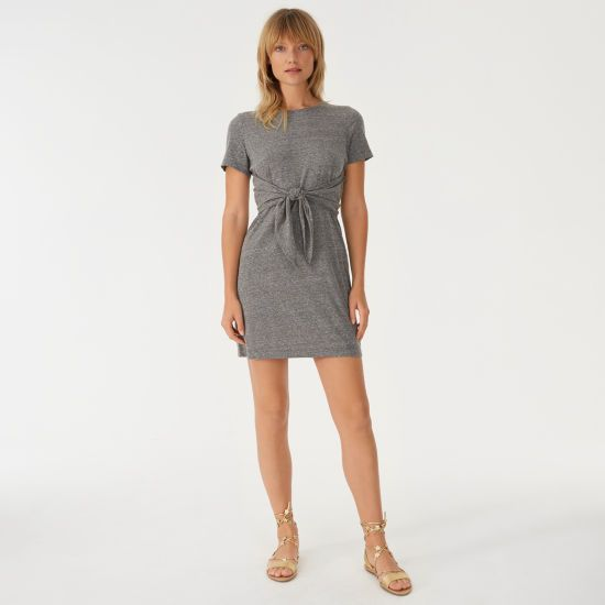 "Our Allyloo dress combines your favorite T-shirt with the easy femininity of a summer dress. Featuring a heathered finish with nuanced highs and lows and a waist-defining tie, you'll want to wear it all weekend long. Polyester blend  Straight fit 36"" in length, based on a size M Crew neck; waist tie; short sleeves Hand wash Imported"