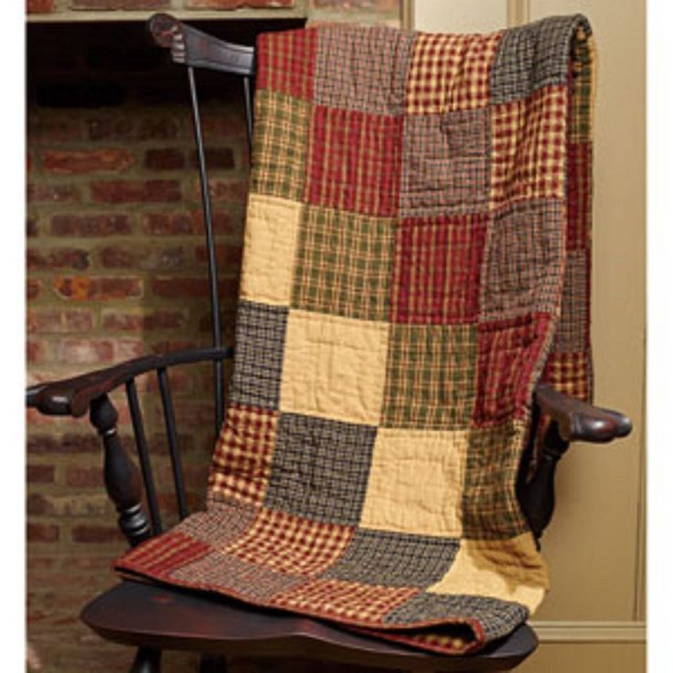New Primitive Country Homespun REBECCA'S PATCHWORK Quilt Blanket Throw  #CountryHouse #Country