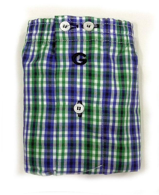 Boxer de tela Derek, confeccionado en algodón 100% y con corte americano o pieza completa. Color: combinado en verde y azul. + modelos varelaintimo.com