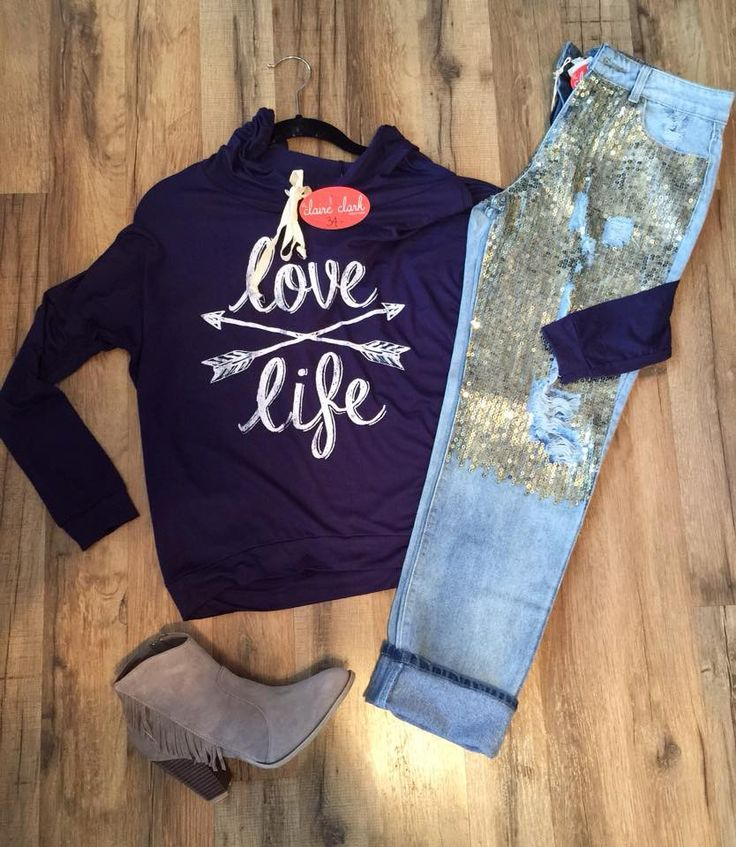 Distressed, gold sequined jeans. Run about two sizes small.