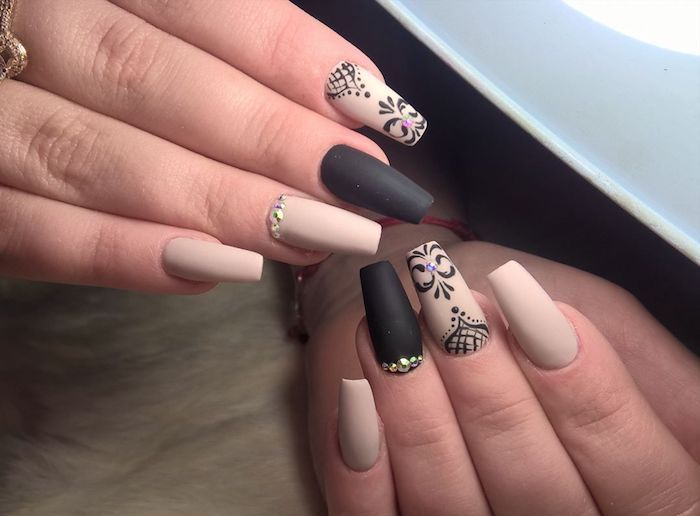 Ornamental Hand Drawn Details In Black On Pale Beige Matte Coffin Nails Decorated With Rh Coffin Shape Nails Coffin Nails Designs Coffin Nails Designs Summer