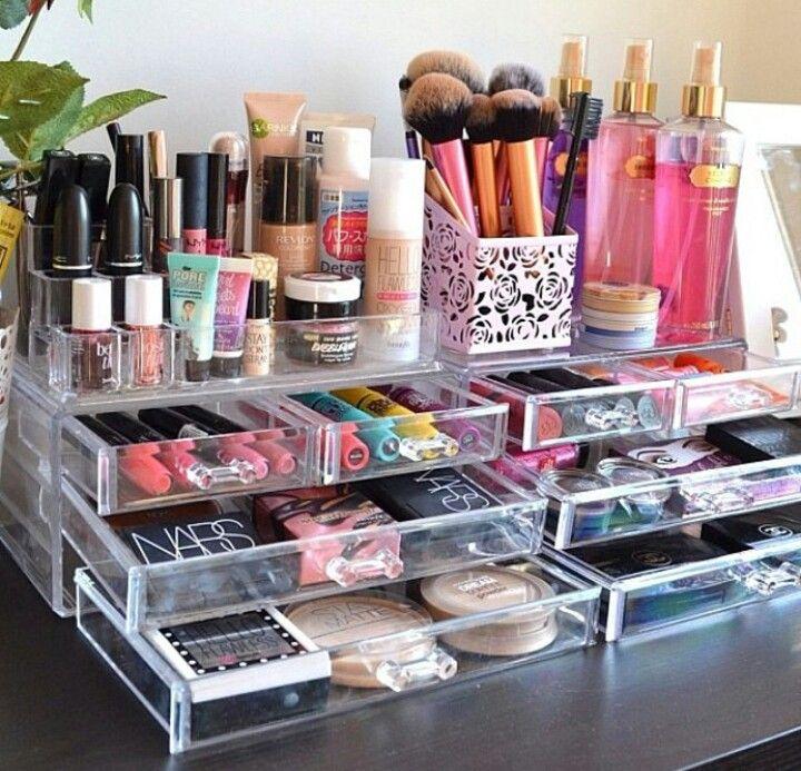 Resultado de imagen de organizador transparente maquillaje tocador
