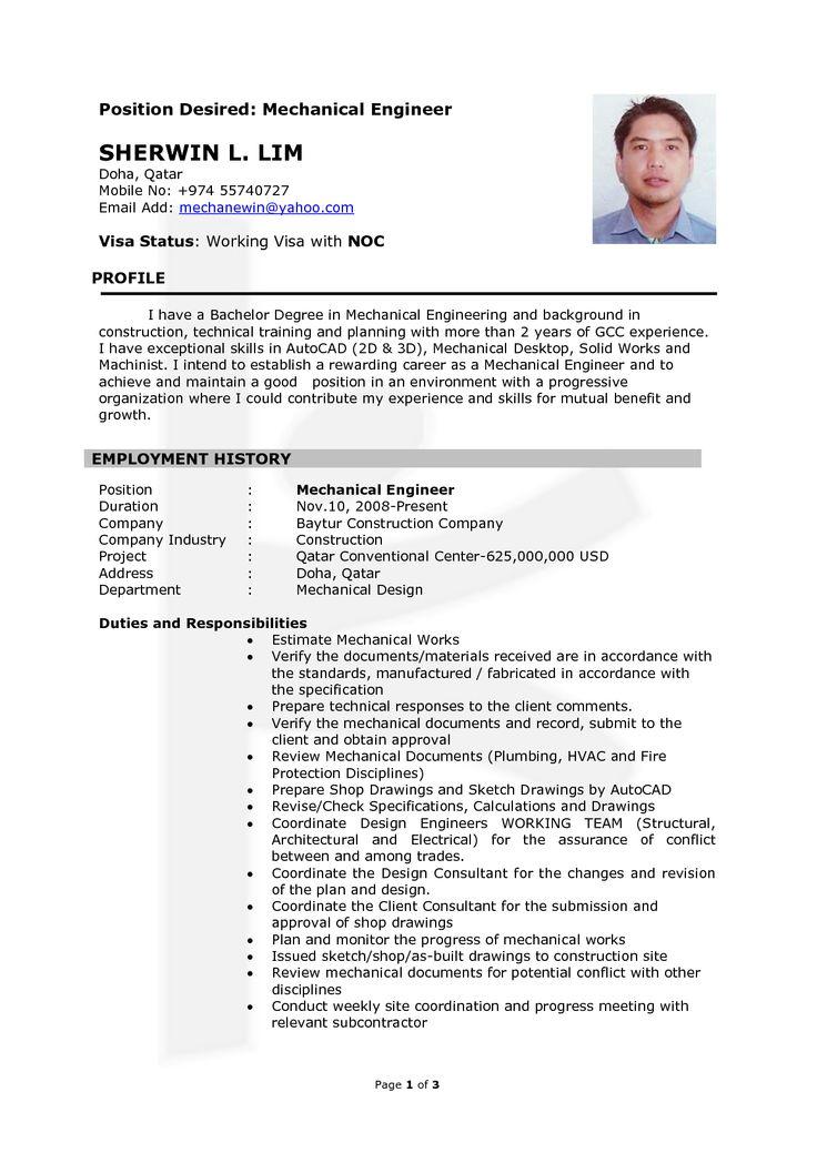 Resume Mechanical Engineering -    wwwresumecareerinfo - hydro test engineer sample resume