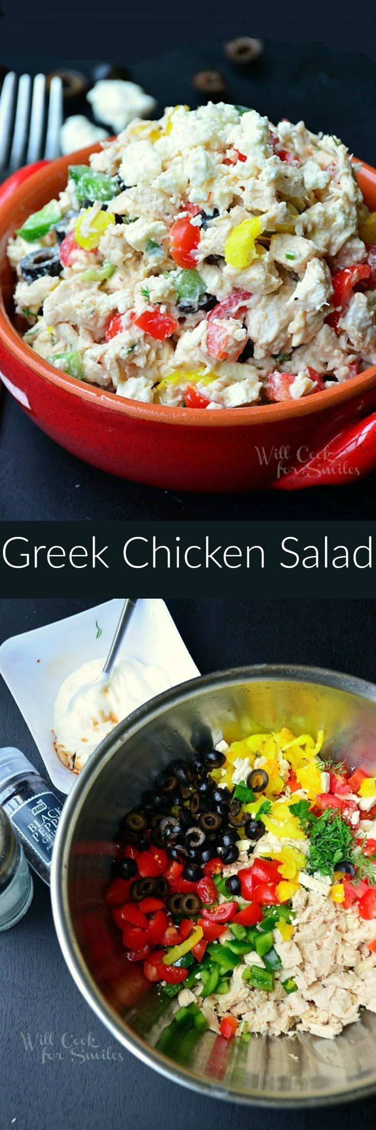 Greek Chicken Salad. Its a chicken salad made with feta cheese, tomatoes, olives, bell peppers, Greek yogurt and many more goodies! It's great on sandwiches or as a side for your next barbecue.