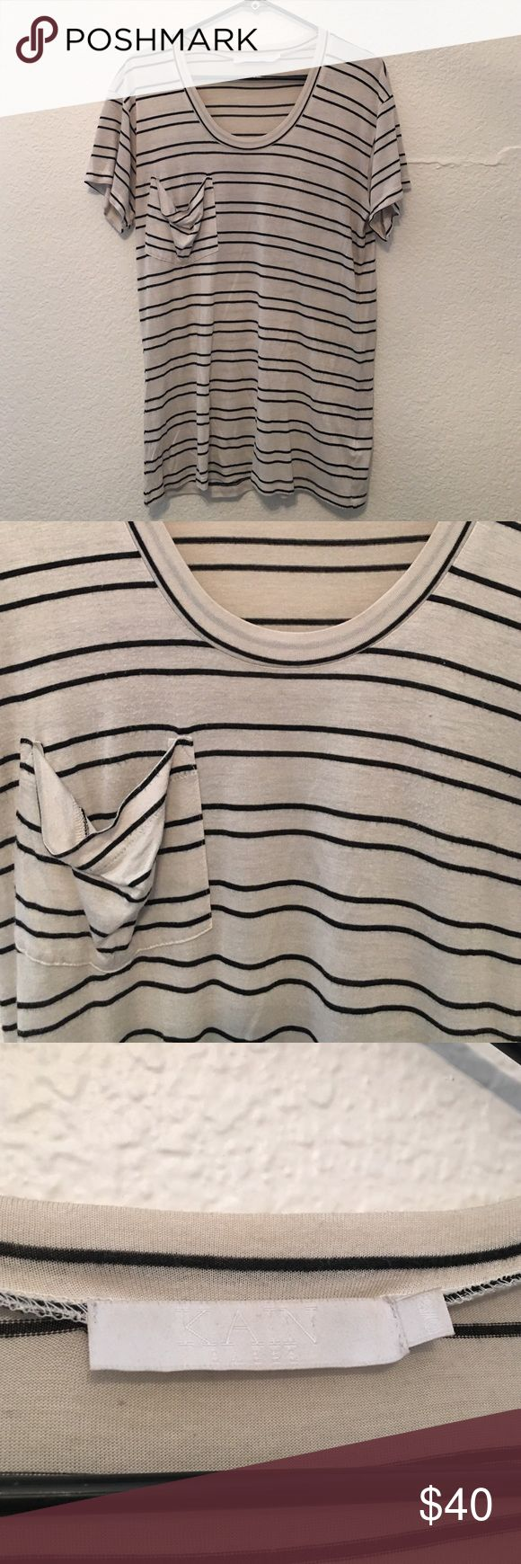 Kain Striped Slouchy Pocket Tee Kain striped slouchy pocket tee, one size. 100% modal. Great condition. Kain Tops Tees - Short Sleeve