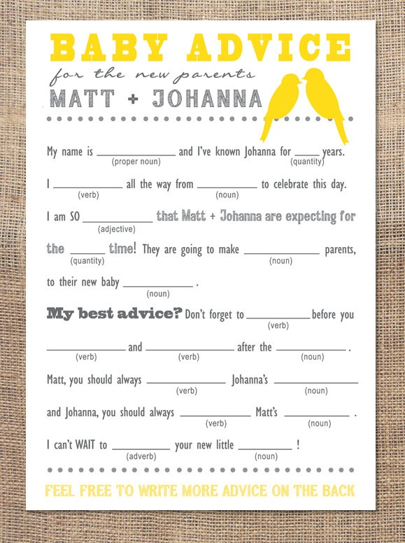 Baby Shower Advice Card  Mad Libs by 2littleyellowbirds on Etsy, $15.00