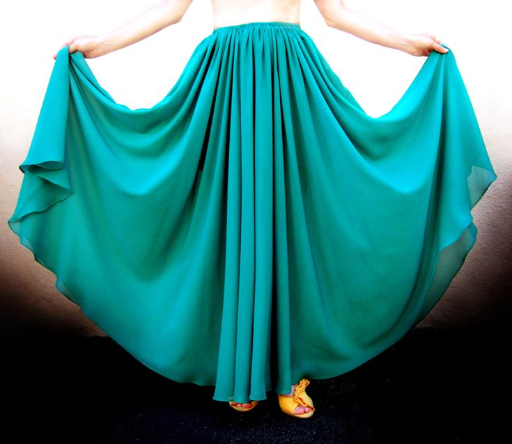 Ameynra fashion full circle skirt Teal green chiffon, All sizes, New