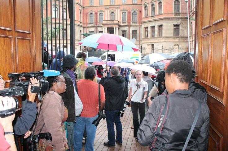 Media waiting outside North Gauteng High Court
