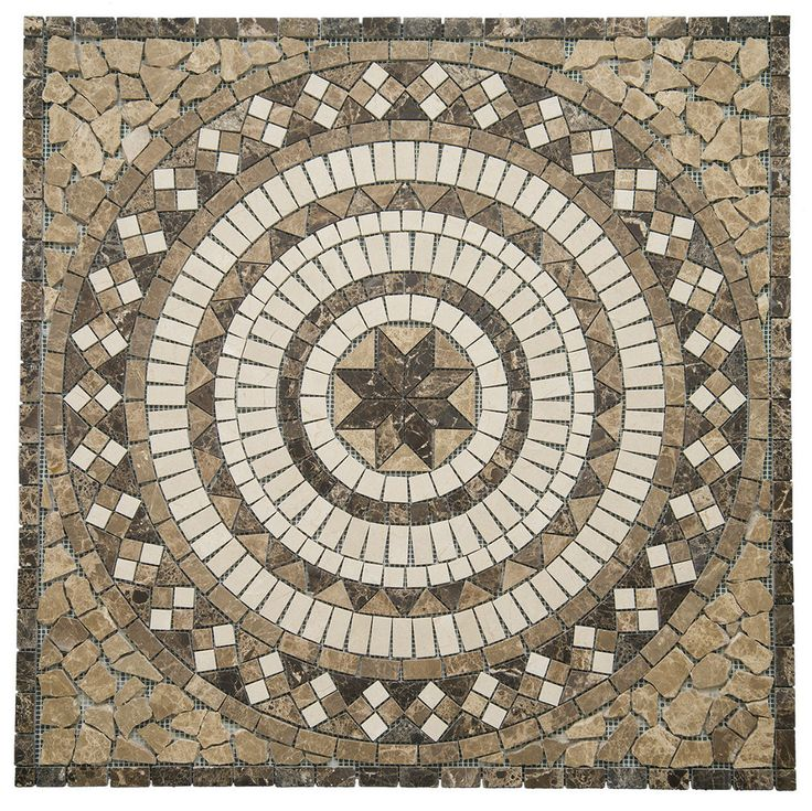 Marble Medallion Mosaic 26 Quot X 26 Quot Floor Tile Inlay Crema