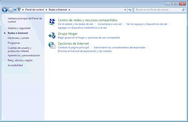 Qué es el Panel de control de Windows 7 y qué hay en él: Redes e Internet