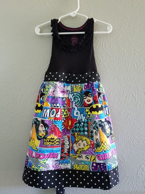Superhero Girls Summer Dress mad from by MamasSewCraftyShoppe