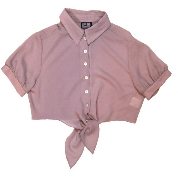 90s pink/lilac/mauve collared button down cropped midriff tie up... ($24) ❤ liked on Polyvore