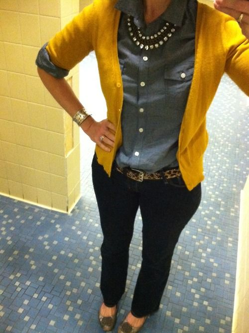 Chambray, yellow, leopard and sparkle. I like the pieces except for the yellow cardigan; I'd switch it out with a blue one.