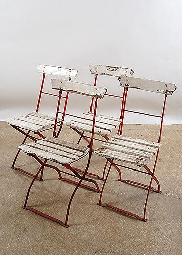 Set of Four Red and White French Antique Garden Chairs