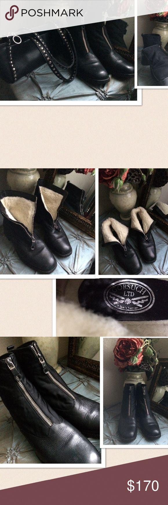 "Gorsuch Ltd Vibram Boots Shearling Gorsuch Ltd Vibram Boots. Shearling inside. Size: 37.5. Shaft: 6 1/4"", circumference: 11"". Zipper front closure. New without box. Gorsuch Ltd Shoes"