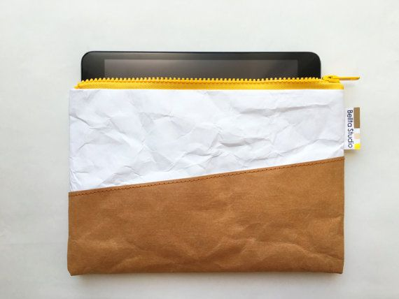 iPad mini case : Tyvek and Kraft paper iPad case/iPad bag/iPad paper bag/iPad sleeve/YKK zipper