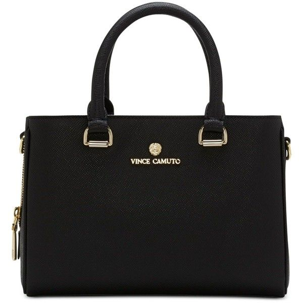 Vince Camuto Thea Small Satchel ($198) ❤ liked on Polyvore featuring bags, handbags, black, black satchel handbag, crossbody handbags, vince camuto purses, black crossbody handbags and black crossbody bag
