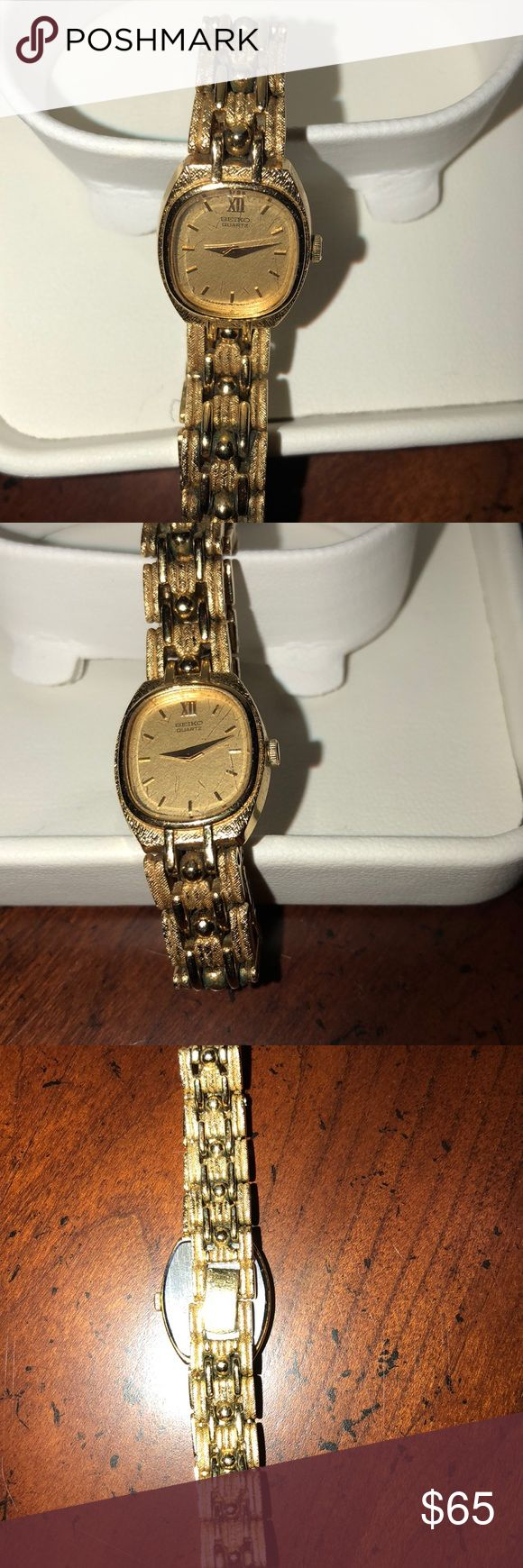 Seiko quartz ladies watch Seiko quartz ladies gold watch, very beautiful and in excellent condition, needs battery otherwise works great!!  Stainless steel back.  Fits small wrist. Seiko Accessories Watches
