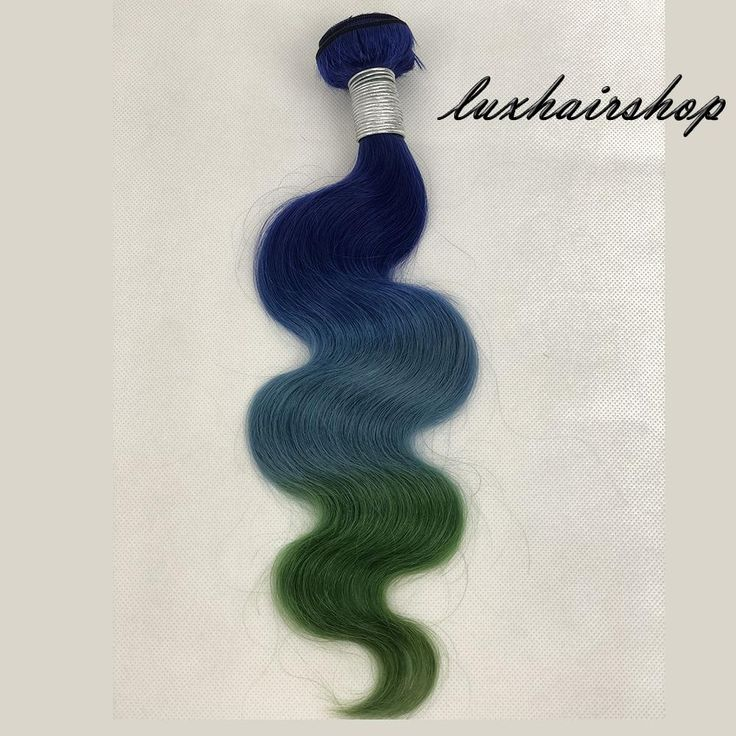 Peruvian Human Hair Weft Blue And Green Ombre Color Body Wave Bundles