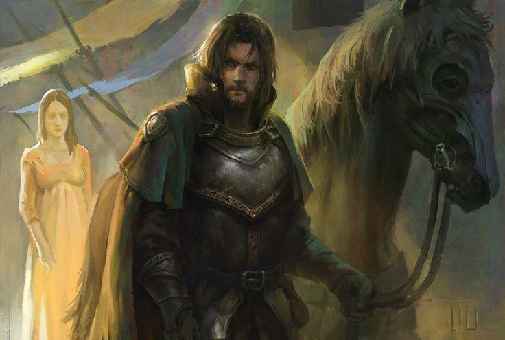 When Lord Eddard Stark joined with the rebels in challenging King Aerys II, Lord Willam Dustin, the head of House Dustin and Stark's bannerman, rode south with Eddard. His wife Barbrey gifted him with a fine red stallion, the pride of her father Rodrik Ryswell's herds, and Willam vowed he would return to her mounted on the fine steed.