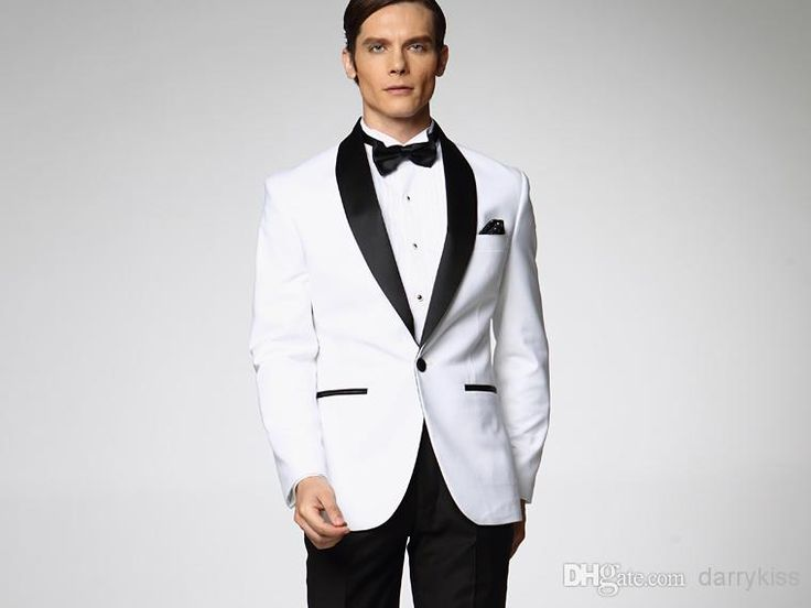 2015 Classic Groom Tuxedos Custom Made Wedding Suit For Men White Jacket With Black Satin Lapel Pant Tie Mens Suits DK