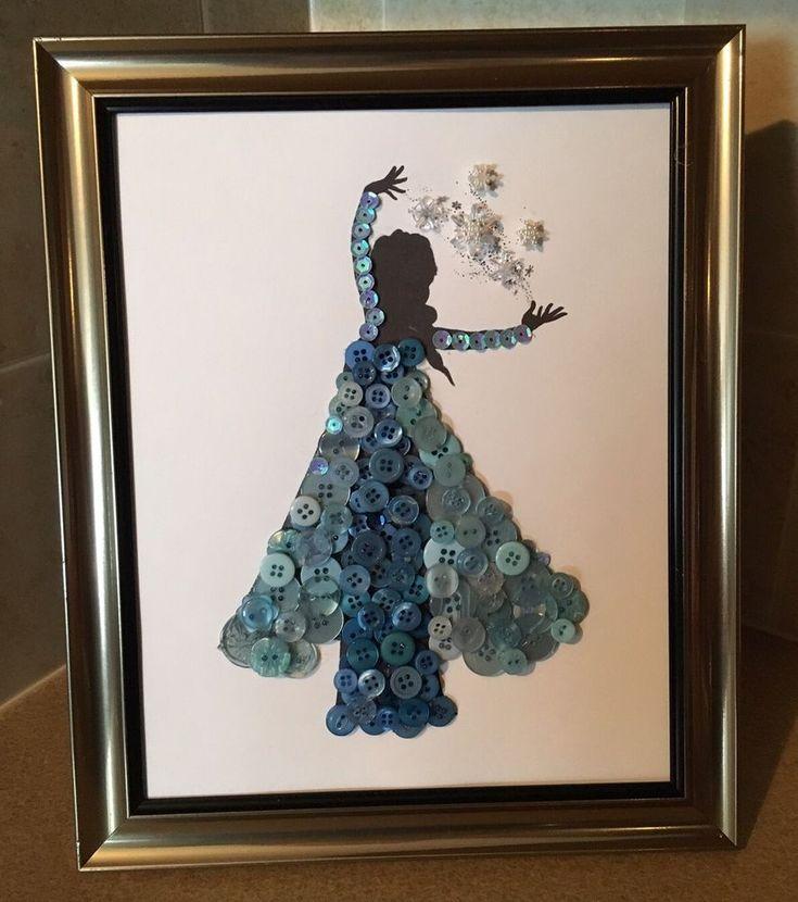 Disney Inspired Elisa Silhouette Button Art In Frame.  | eBay