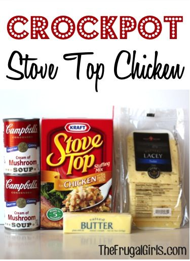 Crockpot Stove Top Chicken Recipe! ~ from TheFrugalGirls.com ~ you're going to love this yummy comfort-food crockpot meal! This is very similar to a family recipe (that was originally a church recipe that was made in the oven) ... I would have to change the Swiss Cheese to White American, not too fond of Swiss. I'll have to give this one a try !!