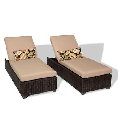 Miseno VENICE-2x-WHEAT Mediterranean 2-Piece Outdoor Chaise Lounge Chair Set