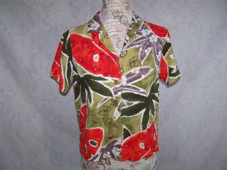 JAMS WORLD Shirt Top S Crinkled Floral ISLAND OASIS Short Sleeves Button Front #JamsWorld #ButtonDownShirt #Casual