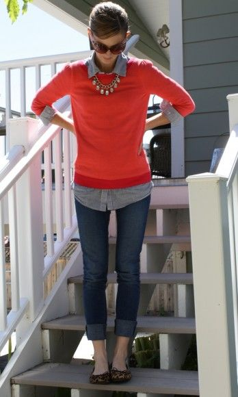 long button-down, snug pullover and cuffed jeans.: Red Sweaters, Outfits, Leopard Flats, Statement Necklaces, Style, Orange Sweaters, Chambray Shirts, Jeans, Leopards Flats