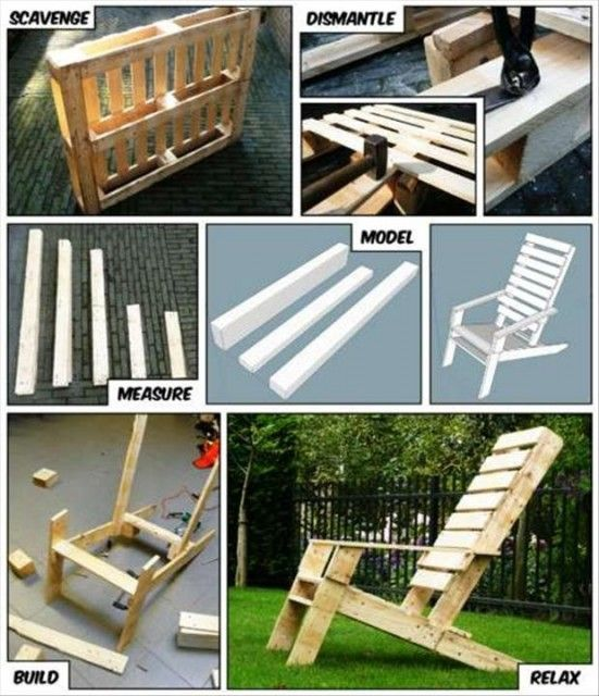 Adirondack style garden / deck / patio chair from old wood pallets