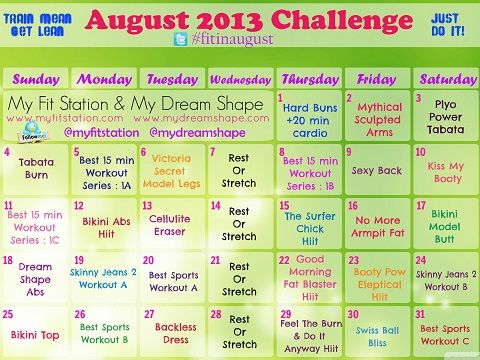August Workout Calendar! Grab it on www.myfitstation.com!