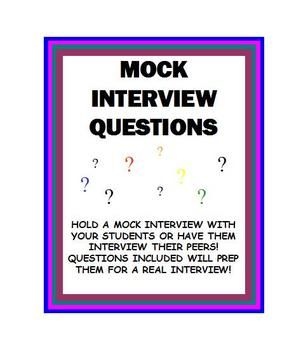 Hold a mock interview with your students! This activity teaches them responsibility, preparation and organization. This file includes:- General questions related to employment- Several 'curve ball' questions - Feedback sheet (for the evaluator)I generally allow 15 minutes for each student.
