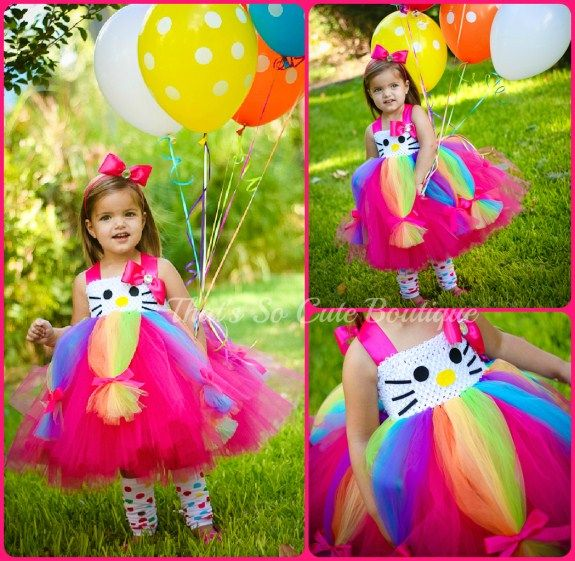 Miss Party Kitty Tutu Dress-hello kitty, tutu dress, pink, hot pink, rainbow, sparkle