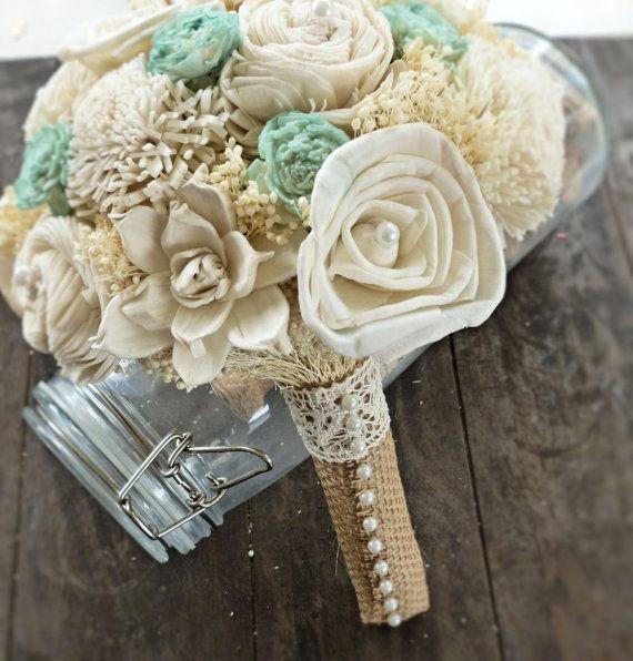 Handmade Natural Wedding Bouquet- Small Ivory Mint Bridal Bridesmaid Bouquet, Rustic Wedding, Alternative Bouquet, Keepsake Bouquet