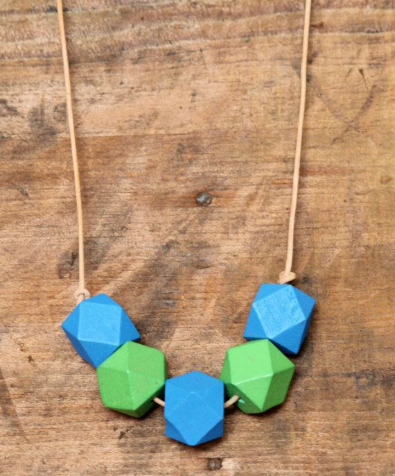 Wooden Bead Necklace Hexagon Blue Green by DesertGypsea on Etsy