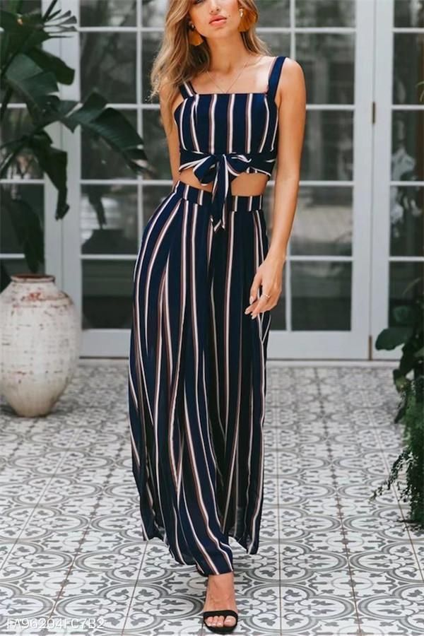 c73cdd713c Thin Short Halter Vest Striped Broad Leg Trousers Fashion Suit –  Sheinstreet.#Jumpsuits#fashion#newstyle