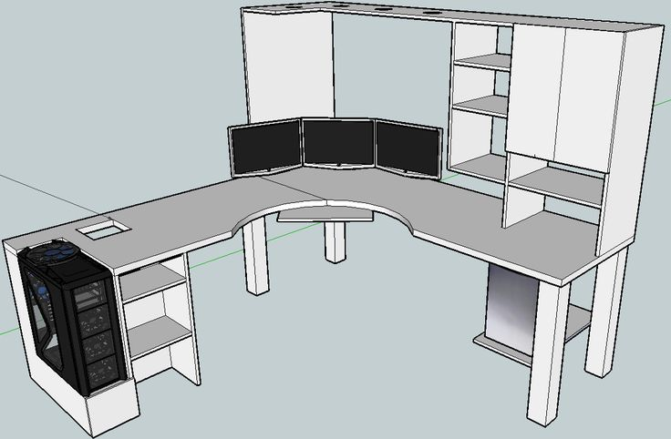 Blkfxx 39 s computer desk build home office pinterest Diy home office desk plans