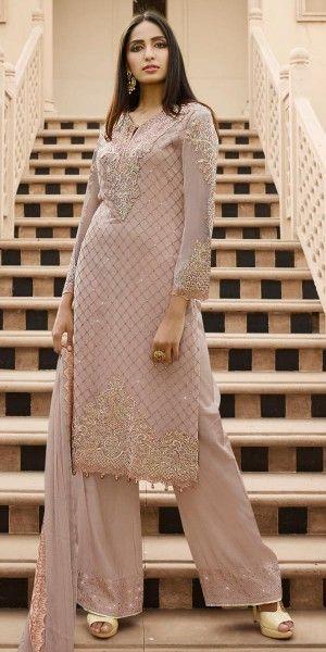 Alluring Cream Georgette Straight Suit.