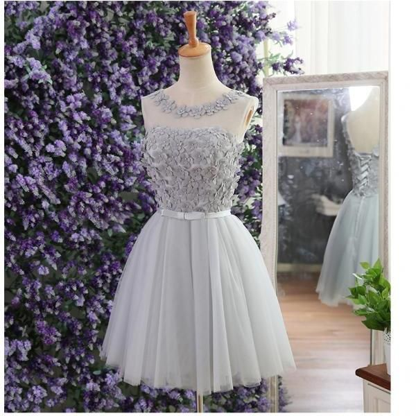 Cheap homecoming dress, lace up prom dress, cute homecoming dress with handmade flowers, silver prom dress, dress for graduation, junior homecoming dress, short prom dress, homecoming dress,