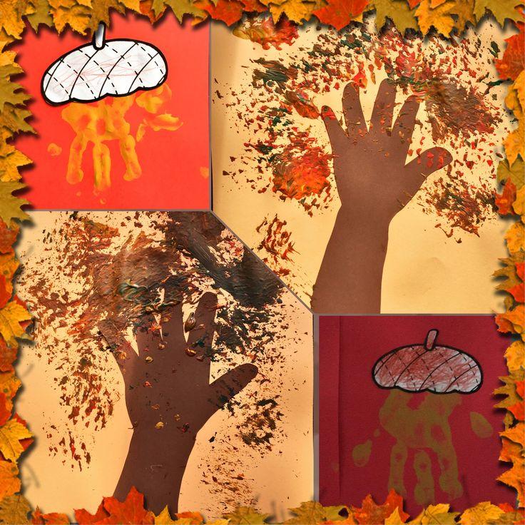 Herfstbomen geverfd met afwasborstel, en eikels van een handje