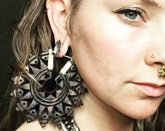 Vedora Carved Wood Tribal Earrings Mandala Earrings Tribal Jewelry Dangle Plugs for Gauges Wood Plugs Wood Gauges Ear Weights Large Hoops