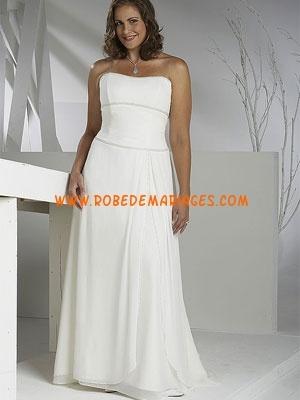Robe de mariée grande taille mousseline bustier