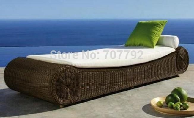 2017 Wicker Patio Furniture Luxury Furniture Rattan sun lounger
