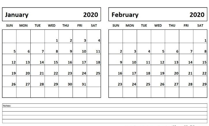 January February Calendar 2020 Printable Pdf Word Landscape